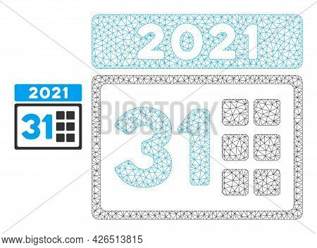 Mesh 2021 Last Day Model Icon. Wire Frame Polygonal Mesh Of Vector 2021 Last Day Isolated On A White