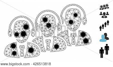 Mesh Call Center Staff Polygonal Icon Vector Illustration, With Black Virus Centers. Abstraction Is