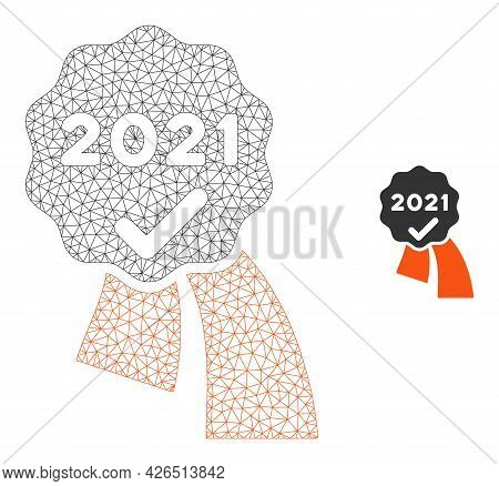 Mesh 2021 Approve Award Model Icon. Wire Carcass Polygonal Network Of Vector 2021 Approve Award Isol