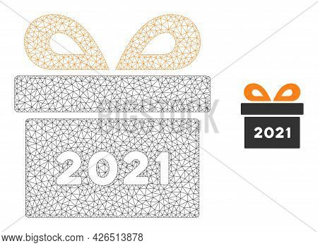 Mesh 2021 Gift Model Icon. Wire Carcass Triangular Mesh Of Vector 2021 Gift Isolated On A White Back