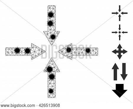 Mesh Shrink Arrows Polygonal Icon Vector Illustration, With Black Coronavirus Nodes. Carcass Model I