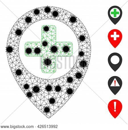 Mesh Hospital Map Pointer Polygonal Symbol Vector Illustration, With Black Infection Items. Carcass