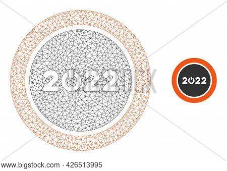 Mesh Start 2022 Round Button Model Icon. Wire Frame Triangular Mesh Of Vector Start 2022 Round Butto