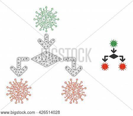Mesh Coronavirus Replication Model Icon. Wire Carcass Polygonal Mesh Of Vector Coronavirus Replicati