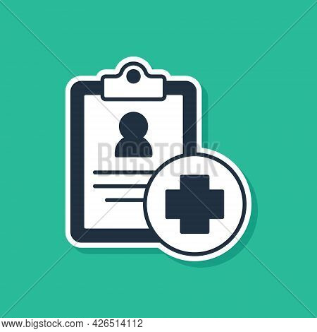 Blue Medical Clipboard With Clinical Record Icon Isolated On Green Background. Prescription, Medical