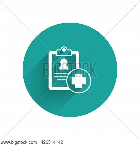 White Medical Clipboard With Clinical Record Icon Isolated With Long Shadow Background. Prescription