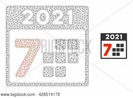 Mesh 2021 Year 7 Days Model Icon. Wire Carcass Triangular Mesh Of Vector 2021 Year 7 Days Isolated O