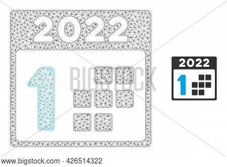 Mesh 2022 First Day Model Icon. Wire Carcass Polygonal Mesh Of Vector 2022 First Day Isolated On A W