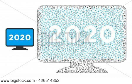 Mesh 2020 Display Screen Model Icon. Wire Carcass Polygonal Mesh Of Vector 2020 Display Screen Isola