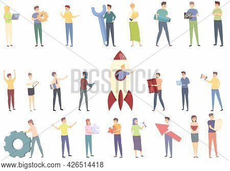Realization Icons Set Cartoon Vector. Self Dream. Success Victory