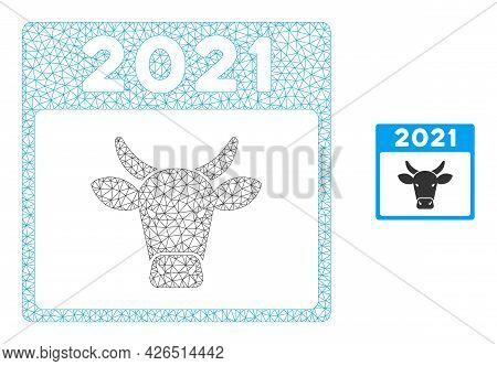 Mesh 2021 Bull Calendar Model Icon. Wire Frame Triangular Mesh Of Vector 2021 Bull Calendar Isolated