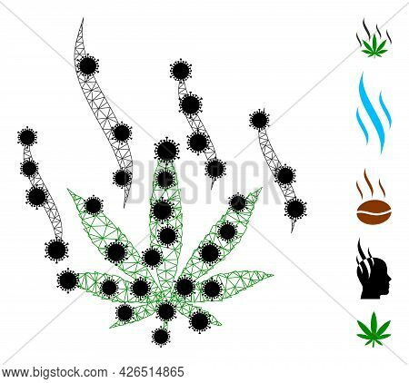Mesh Marijuana Aroma Polygonal 2d Vector Illustration, With Black Infectious Nodes. Carcass Model Is