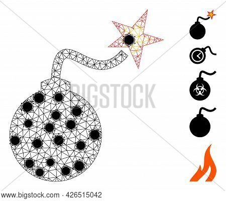 Mesh Bomb Ignition Polygonal Symbol Vector Illustration, With Black Infectious Items. Model Is Based