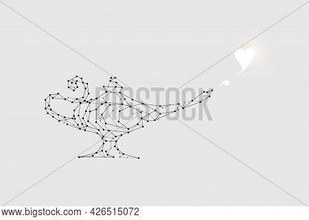 The Particles, Geometric Art, Line And Dot Of Aladin Lamp. Abstract Vector Illustration. Graphic Des