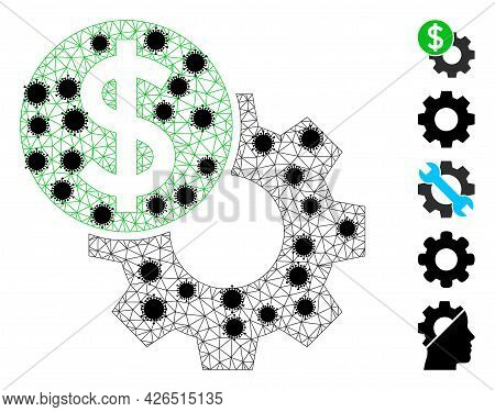 Mesh Engineering Price Polygonal Symbol Vector Illustration, With Black Virus Centers. Abstraction I