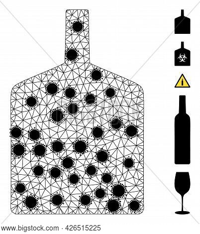 Mesh Wide Bottle Polygonal Icon Vector Illustration, With Black Virus Elements. Abstraction Is Creat