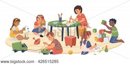 Kindergarten Kids Playing And Studying, Isolated Children Drawing And Cuddling Doll. Montessori Syst