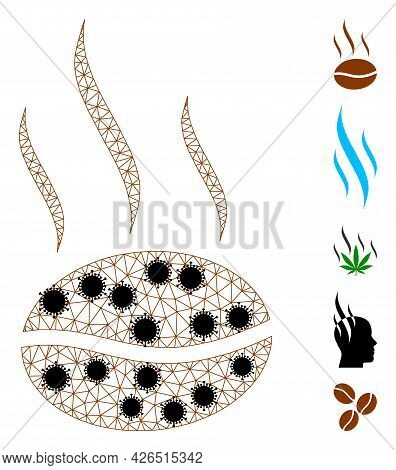 Mesh Coffee Aroma Polygonal Symbol Vector Illustration, With Black Infection Items. Carcass Model Is