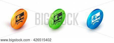 Isometric Breaking News Icon Isolated On White Background. News On Television. News Anchor Broadcast