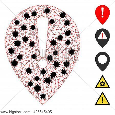 Mesh Notice Map Pointer Polygonal Icon Vector Illustration, With Black Covid Items. Carcass Model Is