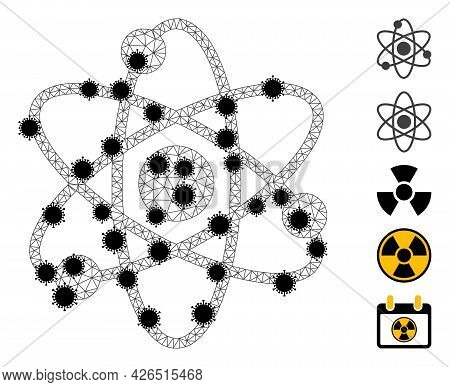Mesh Atom Electrons Polygonal Symbol Vector Illustration, With Black Infectious Items. Carcass Model