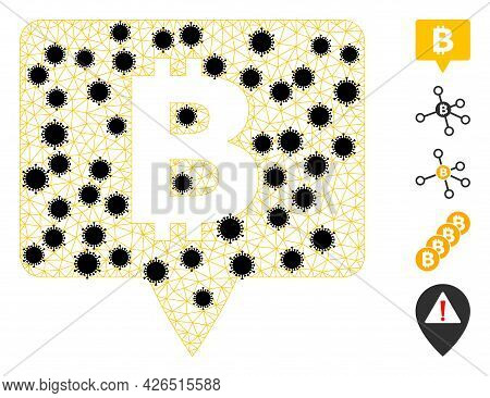 Mesh Bitcoin Banner Polygonal Symbol Vector Illustration, With Black Infection Nodes. Carcass Model