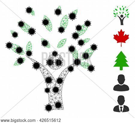 Mesh Ecology Man Polygonal Icon Vector Illustration, With Black Infectious Nodes. Carcass Model Is C