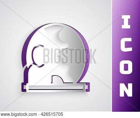 Paper Cut World News Icon Isolated On Grey Background. Breaking News, World News Tv. Paper Art Style