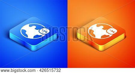 Isometric World News Icon Isolated On Blue And Orange Background. Breaking News, World News Tv. Squa