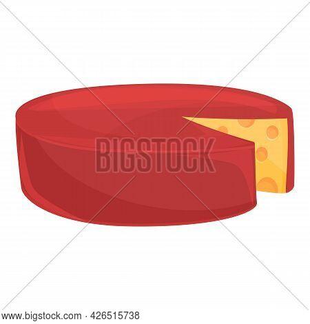 Cheese Wheel Icon Cartoon Vector. Round Cheddar. Swiss Cheese Wheel