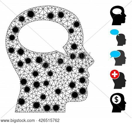 Mesh Thinking Polygonal Icon Vector Illustration, With Black Covid Nodes. Carcass Model Is Created F