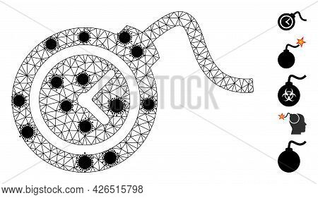 Mesh Time Bomb Polygonal Icon Vector Illustration, With Black Infection Items. Abstraction Is Create