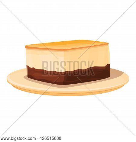 Chocolate Cheesecake Icon Cartoon Vector. Tiramisu Cake. Cream Dessert