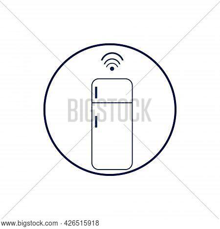 Smart Refrigerator Icon Illustration. Refrigerator With Wi-fi Symbol