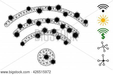 Mesh Wi-fi Source Polygonal Symbol Vector Illustration, With Black Covid Items. Model Is Based On Wi