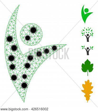 Mesh Eco Man Polygonal Symbol Vector Illustration, With Black Virus Centers. Carcass Model Is Create