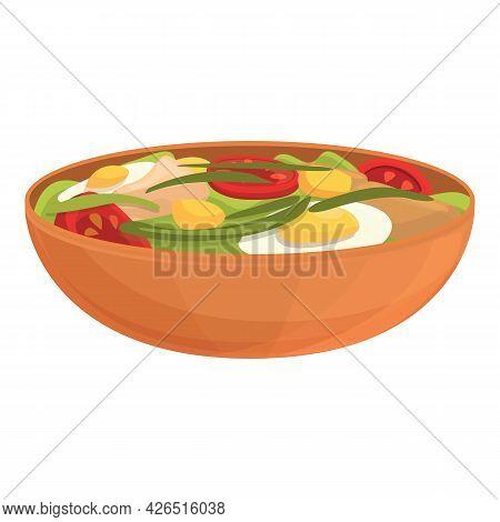 Egg Salad Icon Cartoon Vector. Dish Food. Vegetable Salad Bowl