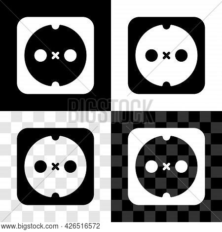 Set Electrical Outlet Icon Isolated On Black And White, Transparent Background. Power Socket. Rosett