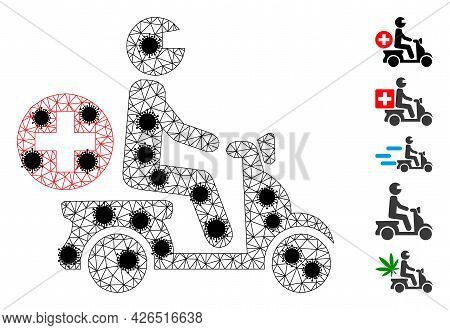 Mesh Doctor Motorbike Polygonal Icon Vector Illustration, With Black Infectious Elements. Model Is C