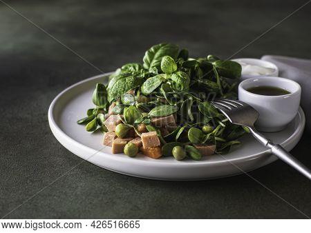 Vegan Food, Micro Greens Salad . Microgreens Of Sunflower, Peas, Vegetable Sausage, Carrots, Peas, S