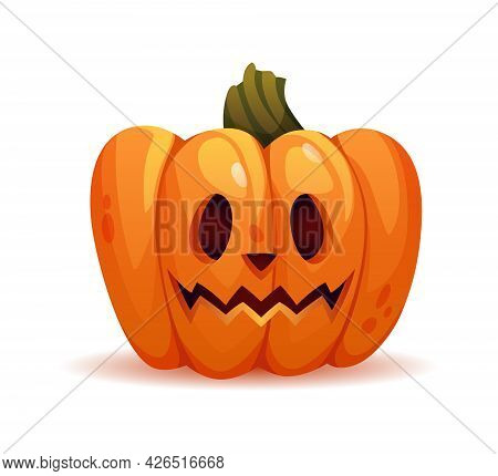 Scary Halloween Pumpkin Personage With Stunned Facial Expression Or Shock. Vegetable With Carved Fac