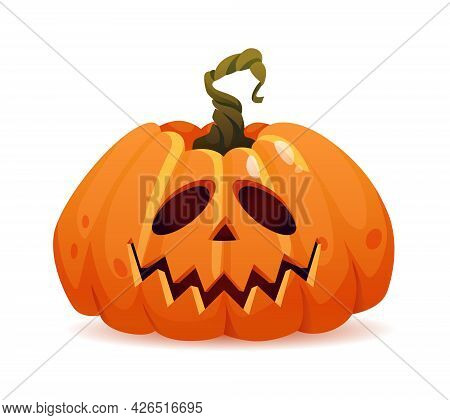 Kind Halloween Pumpkin With Good Emotion, Isolated Personage With Smiling Face. Vegetable Symbol Of