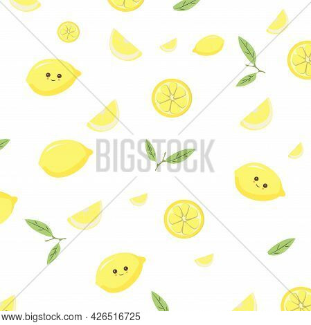 Nice Pattern With Smiling Lemon Characters And Green Leaves