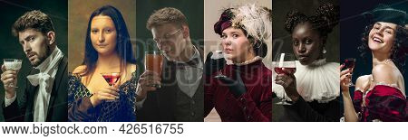 Medieval Men And Women As A Royalty Persons In Vintage Clothing On Dark Background. Concept Of Compa