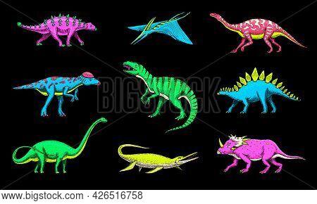 Dinosaurs Set, Tyrannosaurus Rex, Triceratops, Barosaurus, Diplodocus, Velociraptor Triceratops Steg
