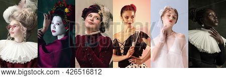 Six Beautiful Women, Medieval People As A Royalty Persons In Vintage Clothing On Dark Background. Co