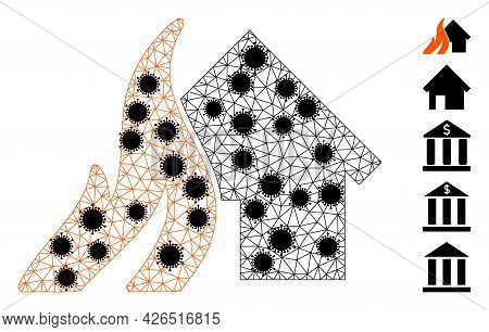 Mesh Burn House Polygonal Symbol Vector Illustration, With Black Covid Elements. Carcass Model Is Cr