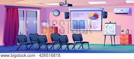 Contemporary Interior Of Classroom Or Meeting Room. Modern University Or Conference Hall. Auditorium