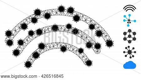 Mesh Wi-fi Waves Polygonal Icon Vector Illustration, With Black Covid Nodes. Carcass Model Is Create