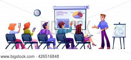 Briefing Or Business Meeting, Gathering Of Press Conference Or Classes At School. Training Or Semina